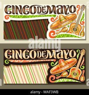 Vector banners for Cinco de Mayo holiday with copy space, layout with ethnic ornament, illustration of mexican hat, guitar and maracas, original lette - Stock Photo
