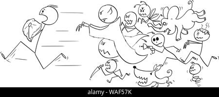 Vector cartoon stick figure drawing conceptual illustration of man holding a pillow running away chasing by his nightmares and dream monsters. - Stock Photo