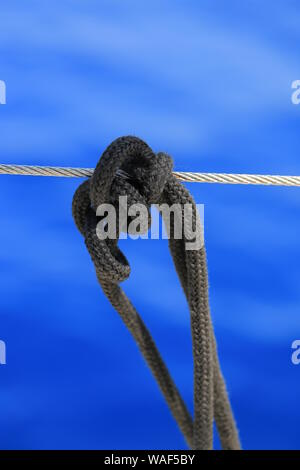Knot tied on a yacht close up