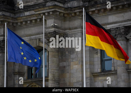 Berlin, Germany. 16th Aug, 2019. An European Union and Germany flags at the Reichstag Building or the German Federal Parliament Building in Berlin. Credit: Omar Marques/SOPA Images/ZUMA Wire/Alamy Live News - Stock Photo