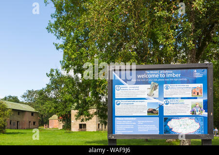 open day for visitors to see the deserted ghost village of Imber on Salisbury Plain, Wiltshire UK in August - Ministry of Defence information board - Stock Photo