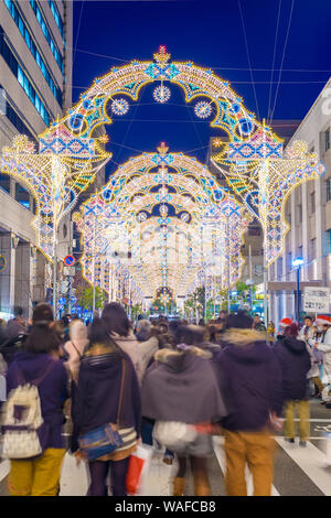 KOBE, JAPAN - DECEMBER 12, 2012: Luminarie light festival. The annual festival remembers the 1995 Great Hanshin Earthquake and the subsequent revival - Stock Photo