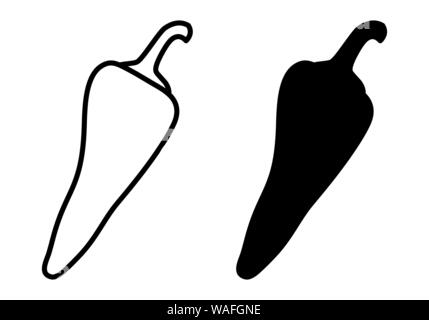 The black and white Pepper icons illustration - Stock Photo
