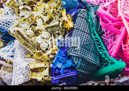 Plastic pressed bales at the modern waste hazardous processing plant. Separate garbage collection. Recycling and storage of waste for further disposal - Stock Photo