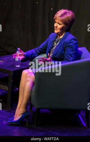 Edinburgh, Scotland, UK. 20th Aug, 2019. Scotland's First Minister, Nicola Sturgeon, is interviewed by Matt Forde at the Edinburgh Fringe Festival.  During the hour long interview the FM said if the UK crashed out of the EU with No Deal that Jeremy Corbyn should shoulder part of the blame. Credit: Rich Dyson/Alamy Live News - Stock Photo