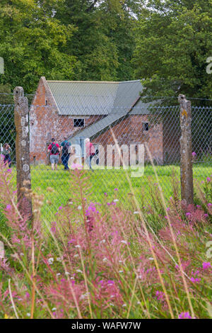 open day for visitors to see the deserted ghost village of Imber on Salisbury Plain, Wiltshire UK in August - Stock Photo