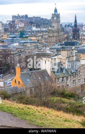 View overlooking Edinburgh from Calton Hill showing the castle and other historic monuments buildings and streets - Stock Photo