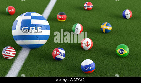 Big Soccer ball in Greece national colors surrounded by smaller soccer balls in other national colors. 3D Rendering