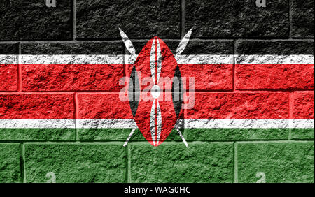 Flag of Kenya close up painted on a cracked wall - Stock Photo