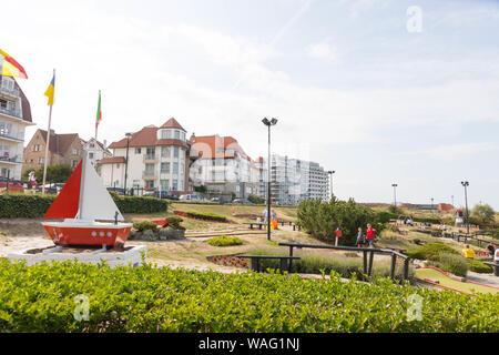 landscape  scene MIniGolf miniature golf in belgium knokke at the nordic sea - Stock Photo