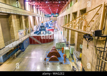HOOVER DAM, ARIZONA - MAY 12, 2019: Generators of the Hoover Dam Power Plant. The dam was opened in 1936 amidst the Great Depression. - Stock Photo