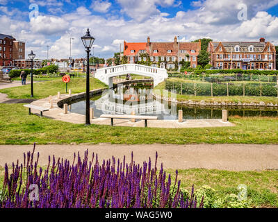20 June 2019: Great Yarmouth, Norfolk, UK - Part of the Venetian Waterways and Boating Lake, Great Yarmouth. Dating from 1928, the park has been resto - Stock Photo