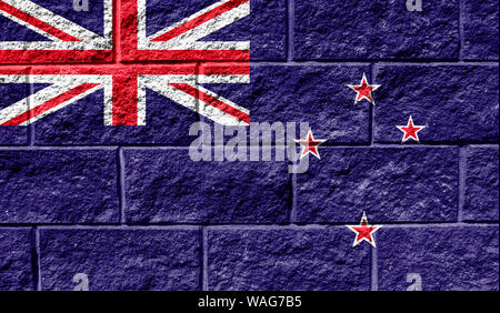 Flag of New Zealand close up painted on a cracked wall - Stock Photo