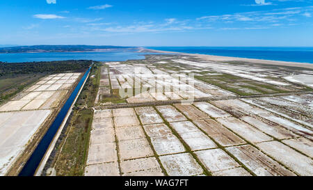 Aerial photo of Sainte Lucie salines in Port La Nouvelle - Stock Photo