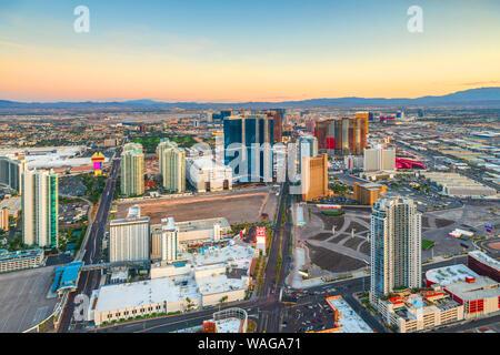 Las Vegas, Nevada, USA skyline over the strip at dusk. - Stock Photo
