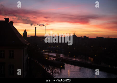 Sunrise view of the Berlin skyline and Spree River in Berlin, Germany. - Stock Photo