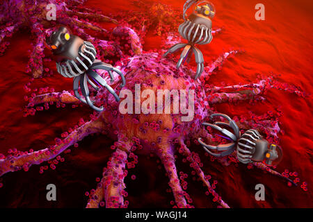 3D rendered Illustration of Nano bots attacking spreading and growing cancer cells. - Stock Photo