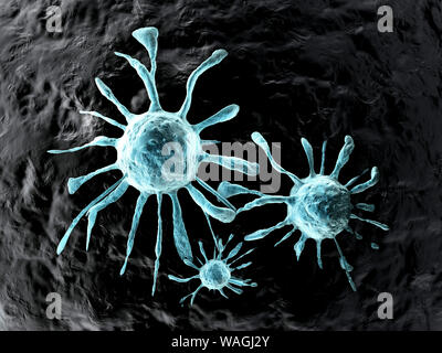 3D rendered Illustration of a growing Cancer cell spreading on healthy Tissue. - Stock Photo