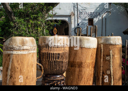 Orlando, Florida. August 14, 2019. African drums at Animal Kingdom . - Stock Photo