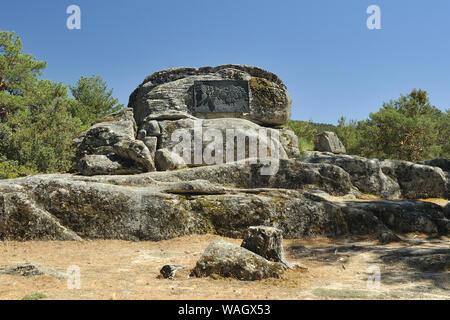 Monument for the butterfly Graellsia isabelae in Peguerinos, Ávila. Spain. - Stock Photo