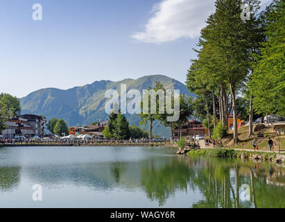 CERRETO LAGHI, ITALY - AUGUST 11, 2019: Evening falls near Cerreto Pass in the Apennine Mountains. The area is known as a ski resort but in summer it - Stock Photo