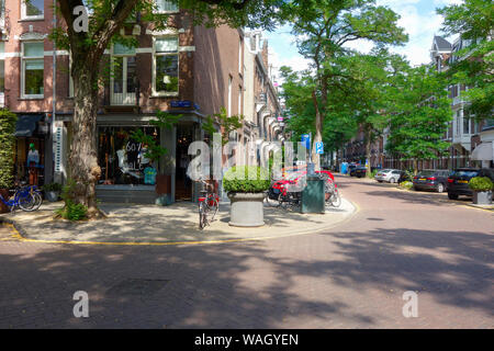 Cornelis Schuytstraat, Oud Zuid, Amsterdam, The Netherlands - home to a wide variety of cafés and restaurants, high-end boutiques and beauty stores.