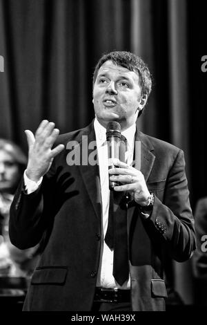 Matteo Renzi for a conference at the Royal Palace of Caserta - Stock Photo