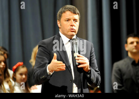Matteo Renzi for a conference at the Royal Palace of Caserta on 16/01 - Stock Photo