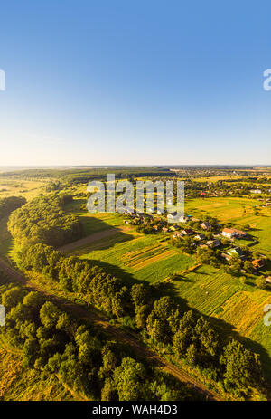 Aerial view of traditional village, Ukraine. Landscape of rural area, nature - Stock Photo