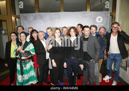 08/20/2019, Berlin, Germany.the Filmcrew at the Preview of the new rbb police call 110: Heimatliebe on Kurfürstendamm in Berlin-Charlottenburg. - Stock Photo
