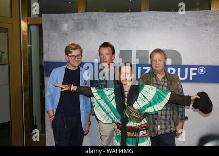 08/20/2019, Berlin, Germany. Klaudiusz Kaufmann, Lucas Gregorowicz,  Maria Simon and Fritz Roth at the Preview of the new rbb police call 110: Heimatliebe on Kurfürstendamm in Berlin-Charlottenburg. - Stock Photo