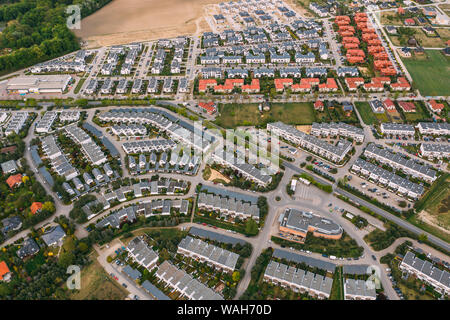 Aerial drone photography of a modern suburban area, Greater Poland. - Stock Photo