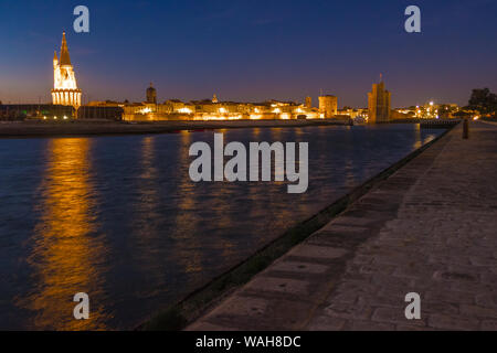 La Rochelle, France - May 13, 2019: A night view of the harbour at vieux port de La Rochelle in France - Stock Photo