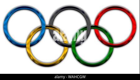 Olympic rings symbol, metallic style - Stock Photo