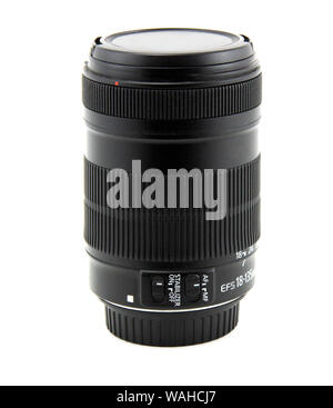 Camera photo lens isolated on white background. It is a wide-angle lens. - Stock Photo