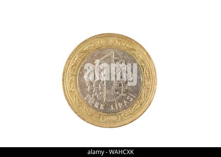 A bimettalic Turkish one lira coin isolated on a white background, shot in close up macro - Stock Photo