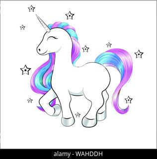 funny little unicorn pony with pink and blue mane, and stars - Stock Photo