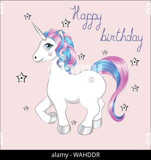 funny little unicorn pony with pink and blue mane, and stars, unicorn Happy birthday card - Stock Photo