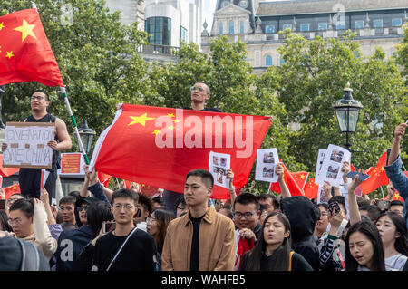 London, United Kingdom - August 17,  2019: Chinese citizens against the UK Solidarity with Hong Kong Rally. - Stock Photo