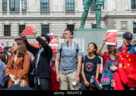 London, United Kingdom - August 17,  2019: Chinese supporters at the UK Solidarity with Hong Kong Rally. - Stock Photo