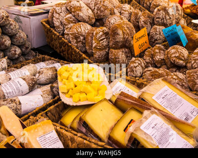 Fresh Food on the weekly market in Malcesine on Lake Garda in Northern Italy - Stock Photo