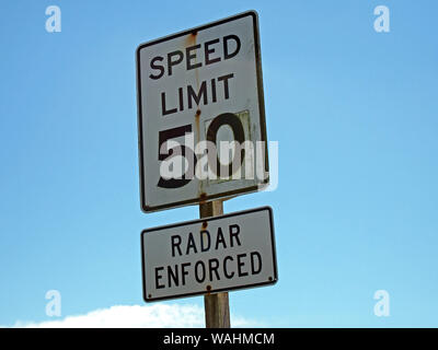 50 mph speed limit radar enforced sign in California. - Stock Photo