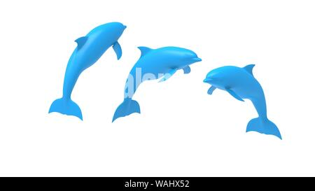 Dolphines 3d rendering and computer model isolated in white studio background - Stock Photo