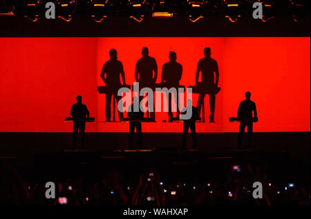 Rio de Janeiro, Brazil, March 20, 2009. Members of the German band Kraftwerk during their show in the Apoteose Square in the city of Rio de Janeiro. - Stock Photo