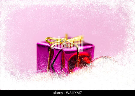 Christmas Festive Background. Christmas Toy Purple Box with Gifts and Snow. Web Banner. - Stock Photo