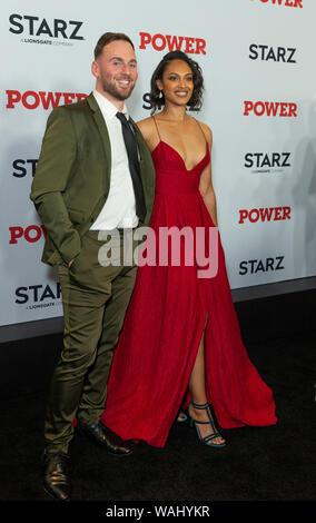 New York, NY - August 20, 2019: Thomas Hefferon and Cynthia Addai-Robinson attend STARZ Power Season 6 premiere at Madison Square Garden - Stock Photo