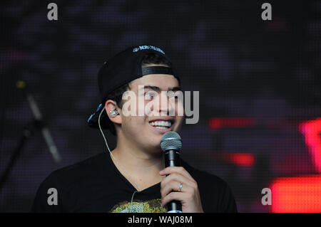 Rio de Janeiro, September 16, 2017. Whindersson Nunes, Brazil's most famous youtuber, during the performance of his show at Rock in Rio 2017, in the c - Stock Photo