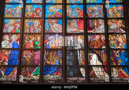 Stained glass window Cathedral of Our Lady Antwerp Belgium - Stock Photo