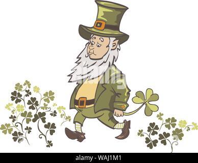 Leprechaun cartoon waving hand. Vector Illustration of a Cartoon Leprechaun Wearing a Green Suit - Stock Photo