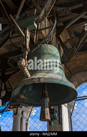 One of the bells in the belfry of the Campanile di San Marco (bell tower), Saint Mark's Square, Venice, Italy - Stock Photo